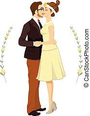 par, hipster, abraçando, casório
