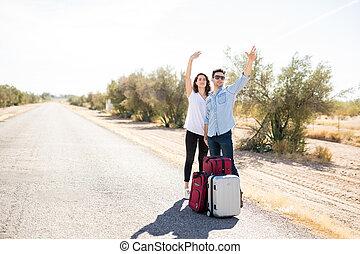 par, hitchhiking, ligado, campo, estrada