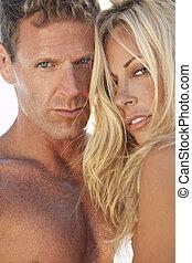 par, homem, atraente, praia, mulher, excitado