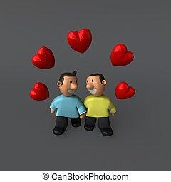 par, -, homossexual, ilustração, 3d