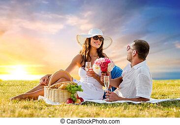 par, hos, blomster, nydelse, champagne, hos, skovtur