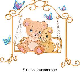 par, i, bjørne, på, en, svinge