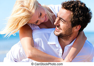 par, i kärlek, på, sommar, strand