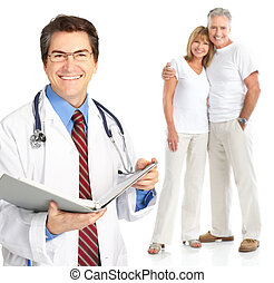 par, idoso, doutor