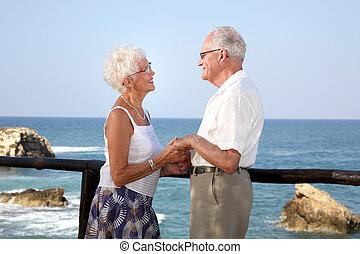 par, idoso, feliz