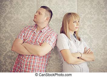 par, ignorando, um ao outro, após, um, argumento