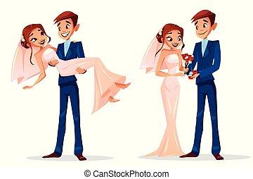 par, illustration, brudgom, brud, vektor, bryllup