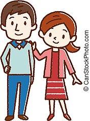 par, ilustração, feliz