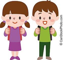 par, ilustração, vetorial, estudante, schoolgirl, feliz, aluno