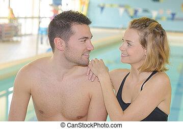 par, indoor, piscina, natação
