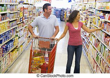 par, inköp, in, supermarket