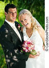 par, inställning, romantisk, bröllop