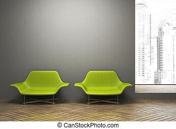 par, interior, modernos, verde, poltronas