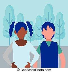 par interracial, jovem, caráteres, avatars