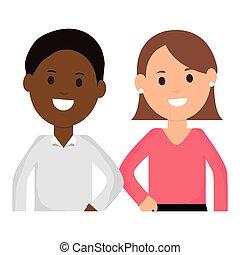 par interracial, jovem, caráteres