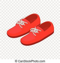par, isométrico, shoes, rojo, icono