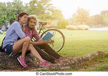 par, jardim, feliz
