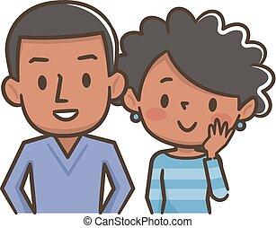 par, jovem, americano, africano, sorrir feliz