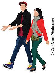 par jovem, andar