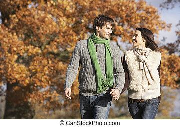 par jovem, andar, parque, segurar passa