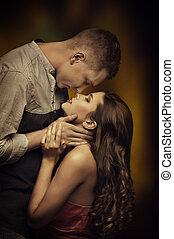 par jovem, beijando, apaixonadas, mulher, homem, romanticos, paixão, desejo, íntimo, emoções, amantes