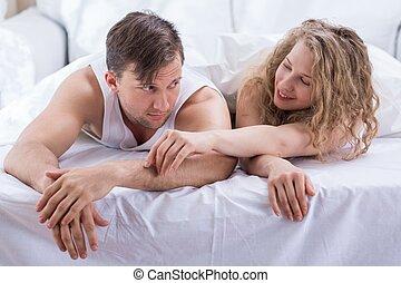 par, jovem, cama