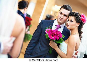 par, jovem, casório