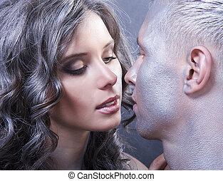 par, jovem, cima, retrato, fim, caucasiano, beijando