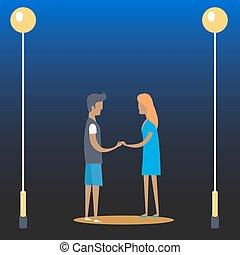 par jovem, de, menino menina, perto, streetlamps