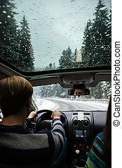 par jovem, dirigindo, em, inverno, floresta