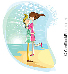 par, jovem, divertimento, praia, tendo, feliz