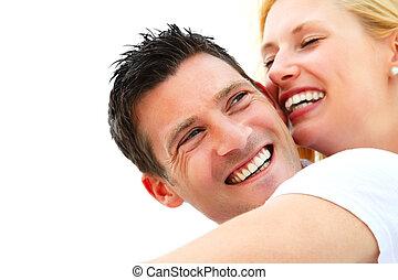 par, jovem, feliz