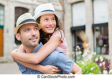 par, jovem, feriados, divertimento, tendo, feliz