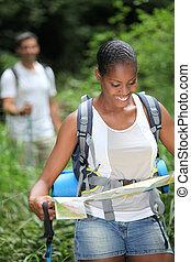 par, jovem, hiking
