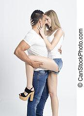 par, jovem, jogos, excitado, sexual, tocando