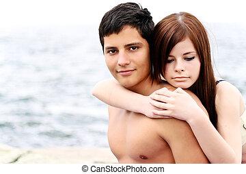 par, jovem, junto, retrato, praia, feliz