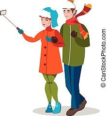 par jovem, levando, um, selfie