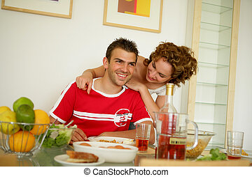 par, jovem, pequeno almoço, tendo