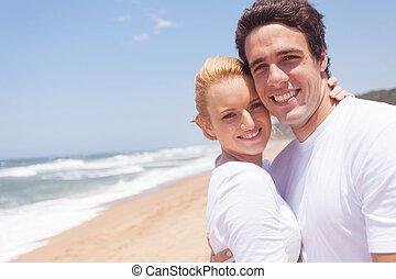par jovem, relaxante, ligado, praia