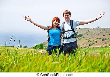 par, jovem, relaxante, natureza