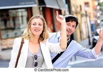 par jovem, saude, para, um, táxi táxi