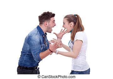 par jovem, tendo, um, luta