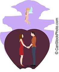 par, kärlek, holdingen, hands.