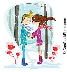 par, kärlek, skog, vinter