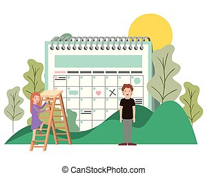par, kalender, landskap, påminnelse