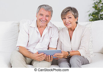 par, kigge, kamera, gamle, pc. tablet