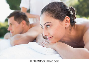 par, kopplar, attraktiv, poolside, avnjut, massera