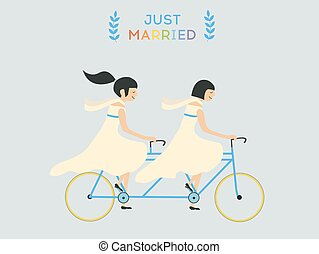 par, lésbica, casório