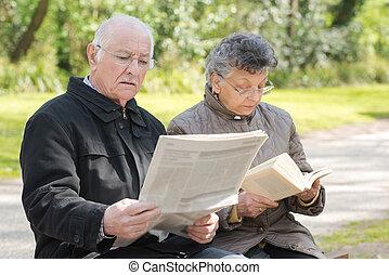 par, leitura, parque, idoso