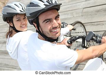 par, ligado, bicicleta